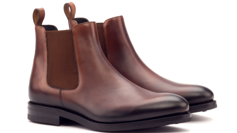 Bespoke chelsea boot in burnished brown box calf Cambrillon