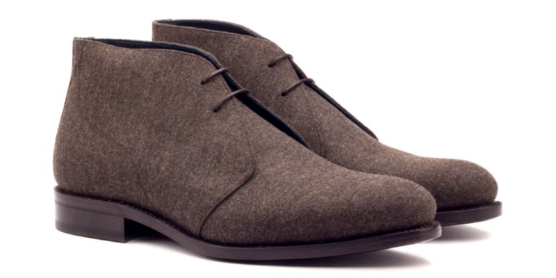 Bespoke Chukka boot for men in brown flannel Cambrillon