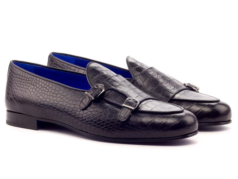 Monk strap Slipper for men in black leather Cambrillon