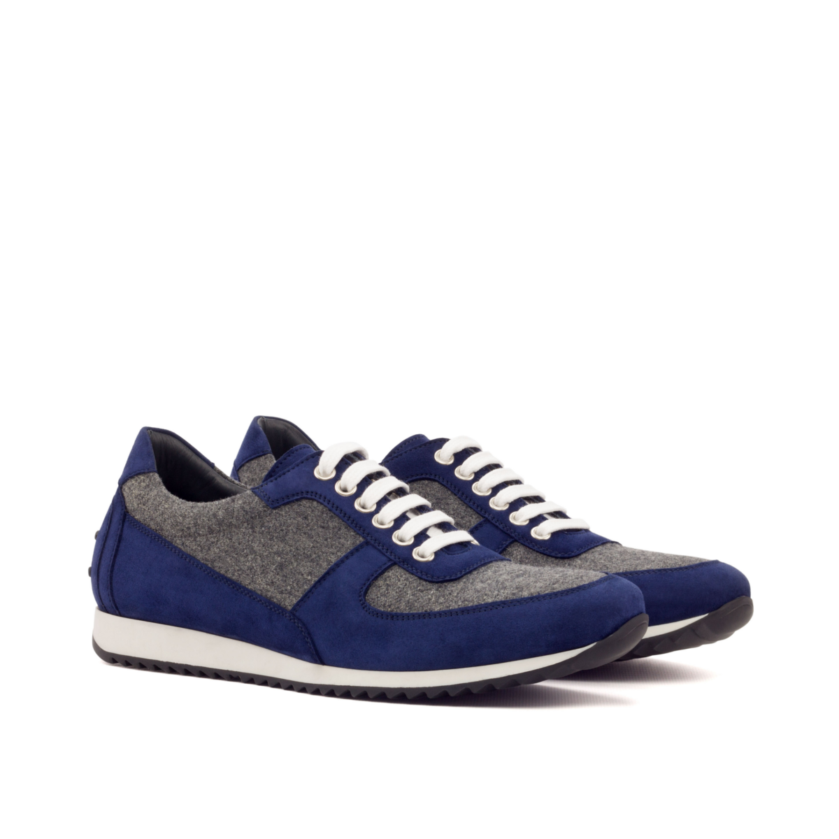 LEO blue suede and grey flannel corsini sneakers