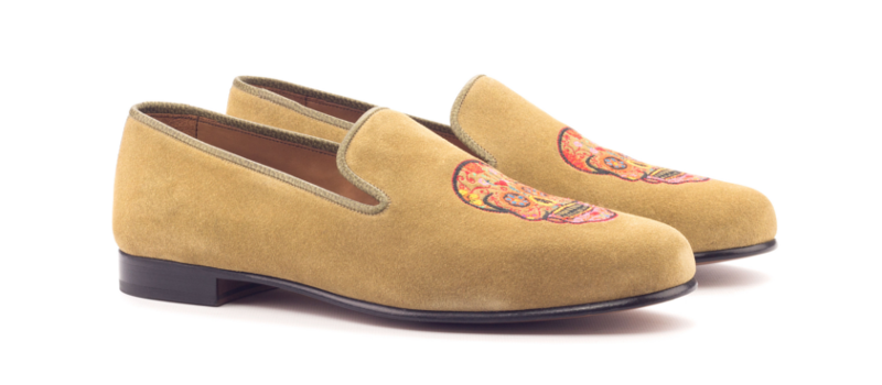 Slipper ante beige con bordado Cambrillon