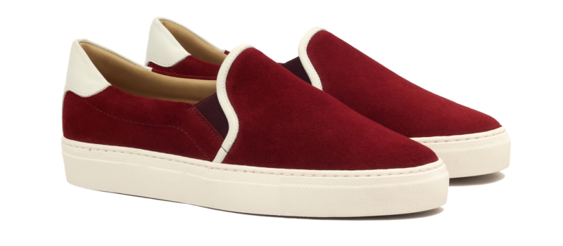 slip on in red suede