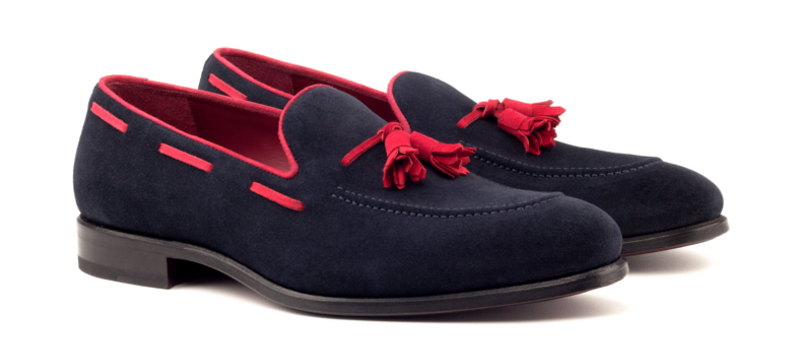 Tassel loafer en ante azul