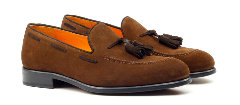 Tassel loafer en ante marrón