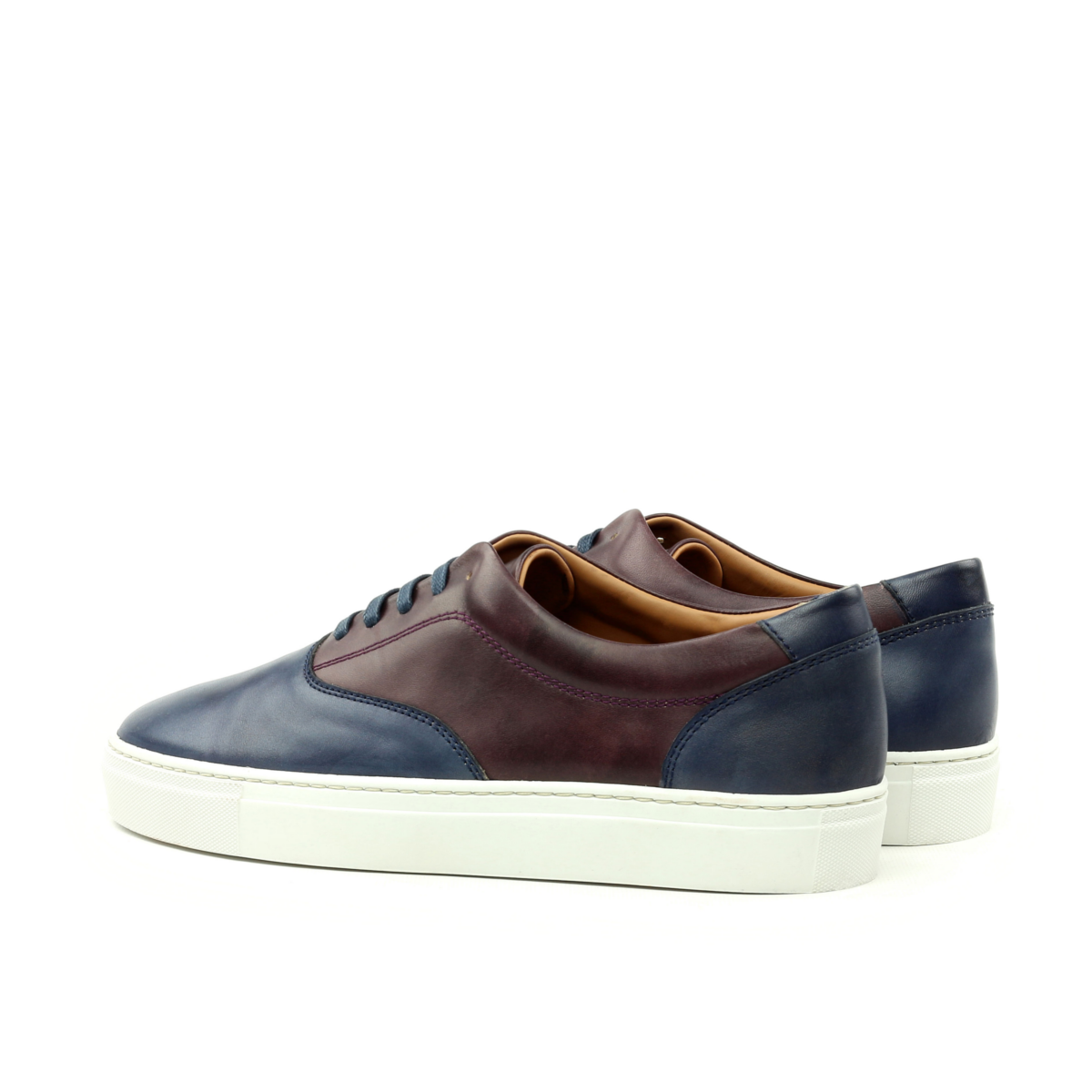 LEO brown and blue box calf sneakers