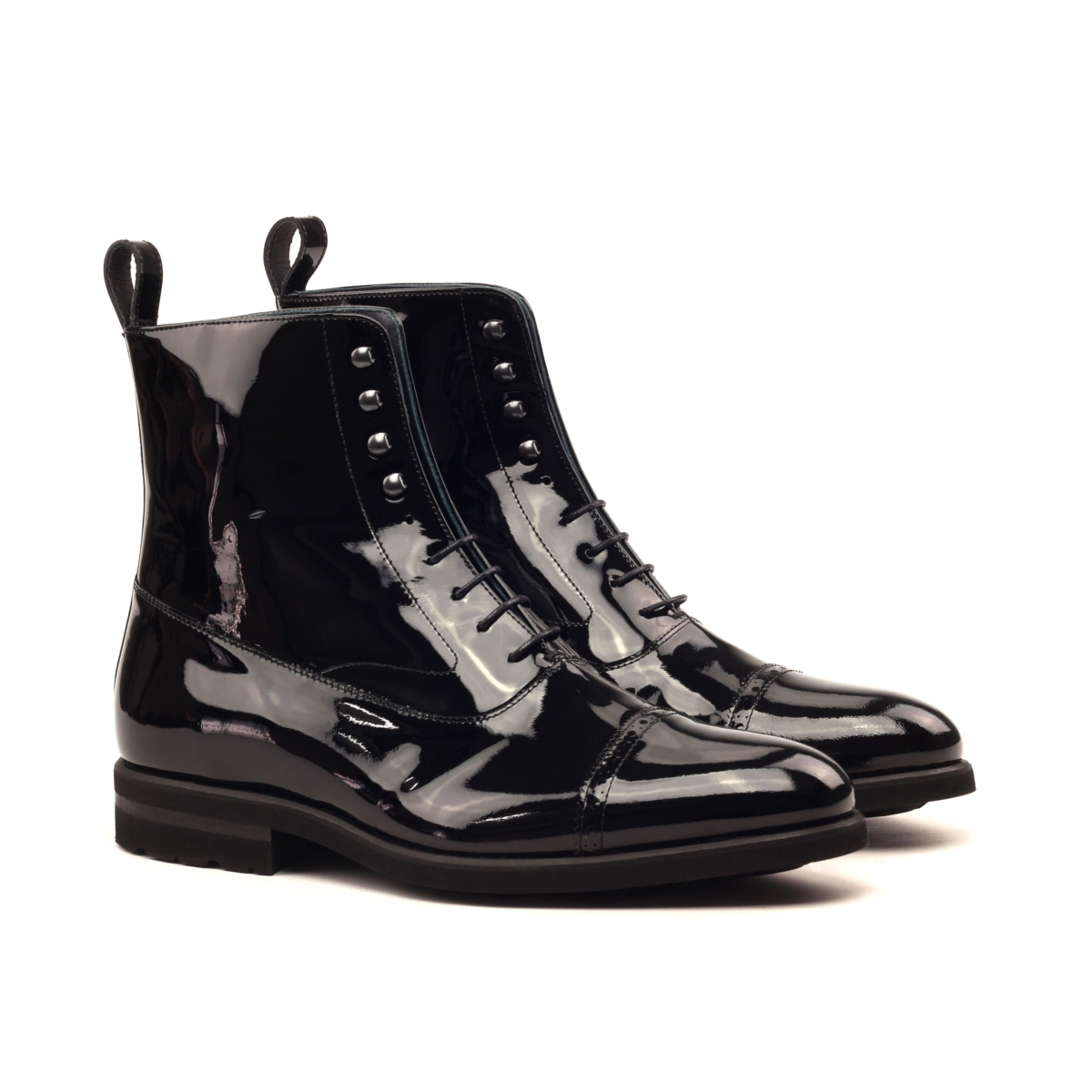 Black patent leather Balmoral boot