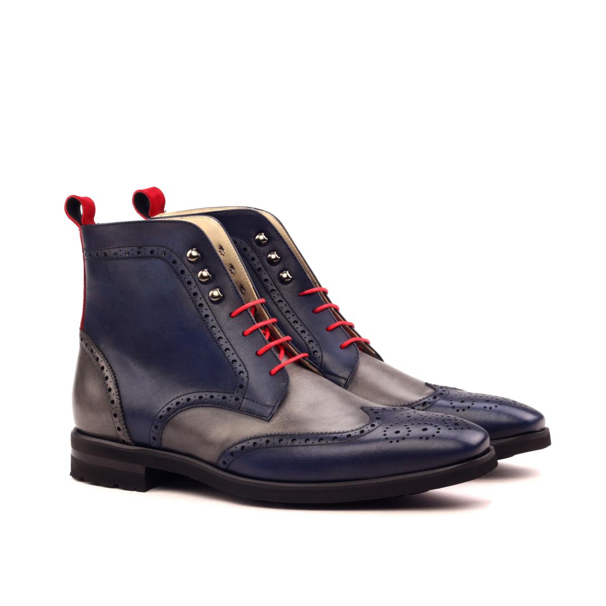 Hand paitend navy box calf wingtip boots