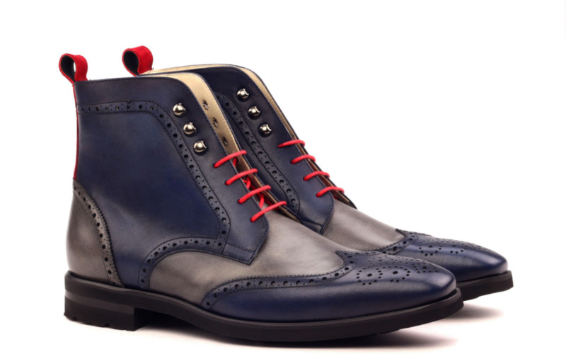 Bespoke wingtip boot in blue and grey box calf Cambrillon