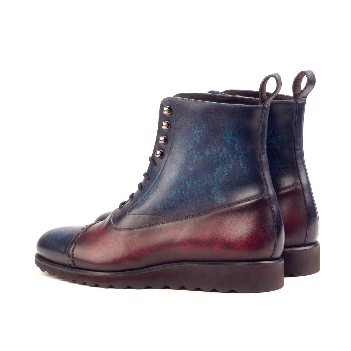 Crust patina denim and burgundy Balmoral boot