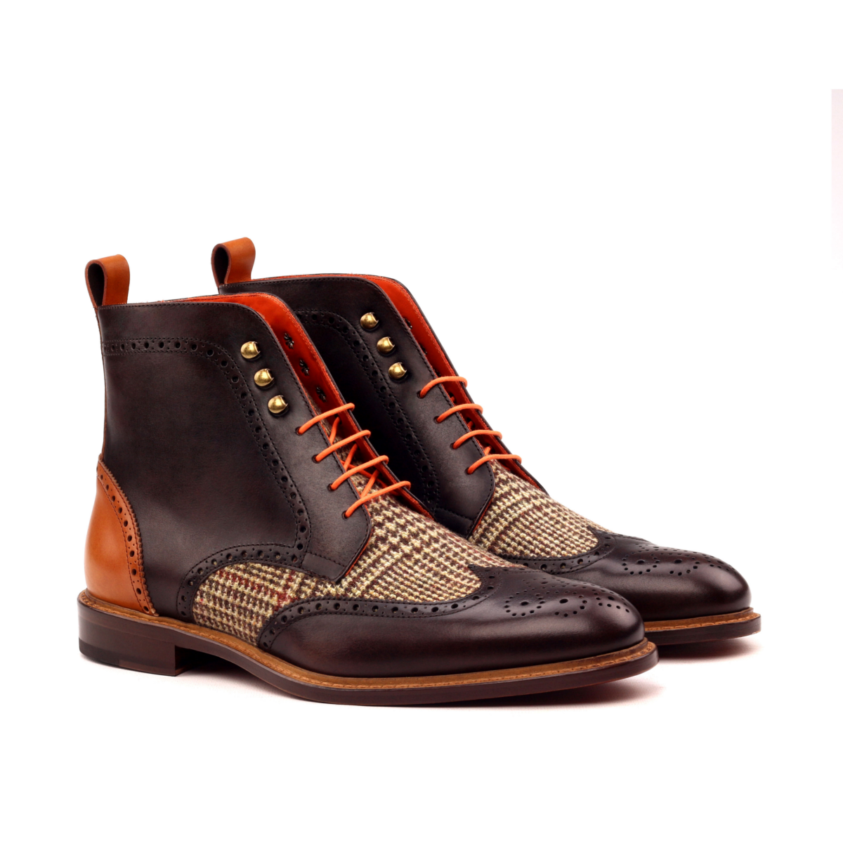 Hand paited brown box calf f wingtip boots
