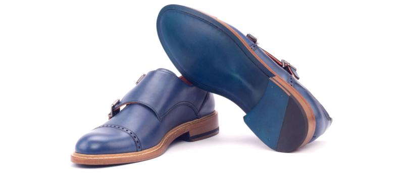 Monkstrap para mujer en box calf azul Cambrillon