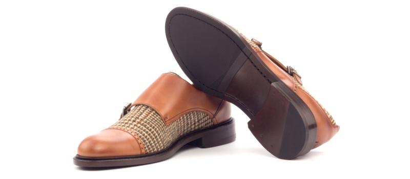 Monkstrap para mujer en box calf cognac y tweed Cambrillon