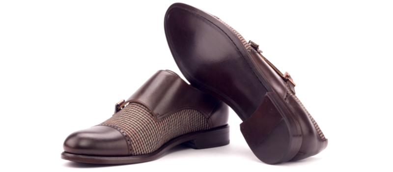 Monkstrap para mujer en box calf marron chocolate y tweed Cambrillon