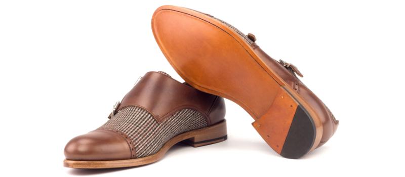 Doble Monkstrap para mujer en box calf marron y tweed