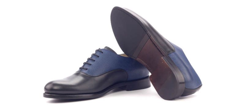 Bespoke black and blue Saddle Oxfords for women Cambrillon