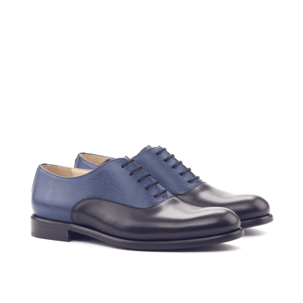 Women Oxford - Box Calf Black-Painted Pebble Garin Navi-AngBespoke Black and blue Saddle Oxford shoes for women Cambrillon