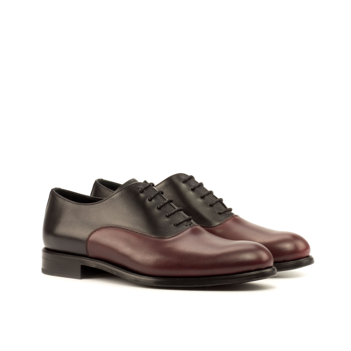 Burgundy and black boxcalf women's shoes