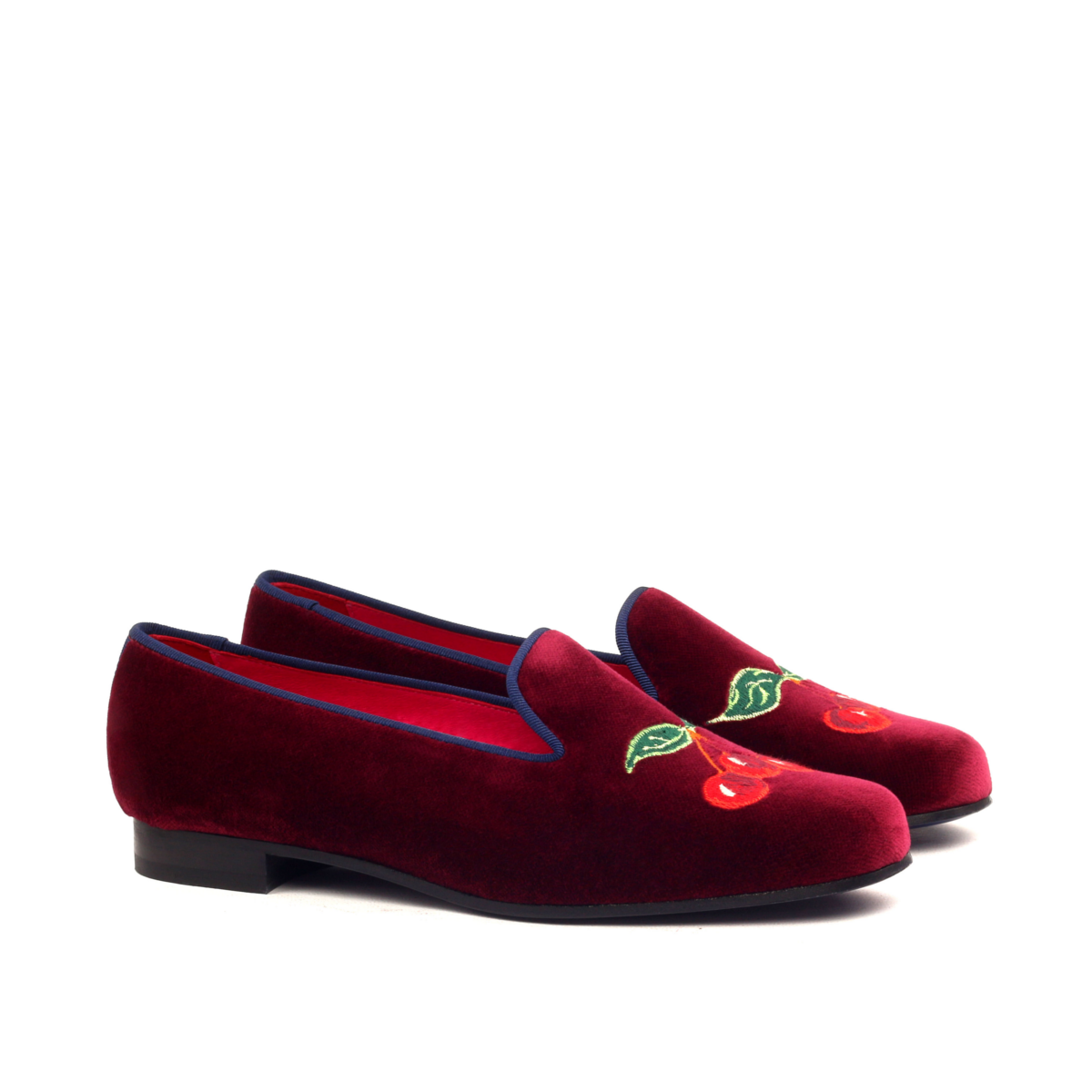 Burgundy velvet women's Slippers