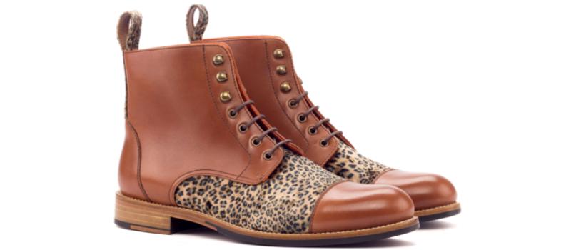Bota cap toe para mujer en box calf cognac y terciopelo print Cambrillon