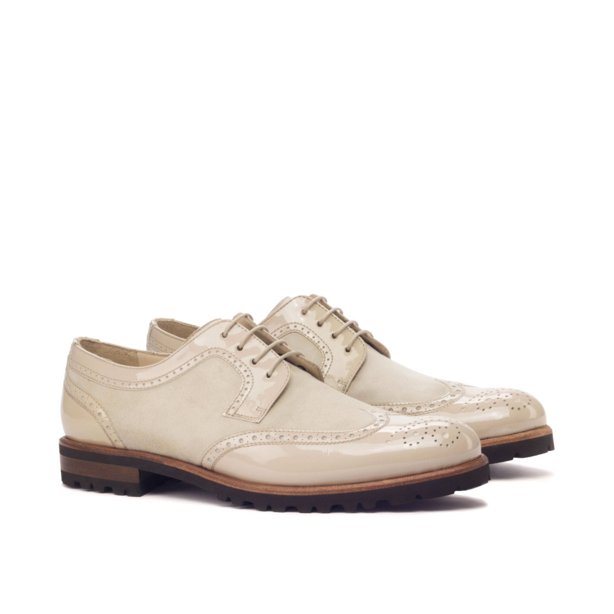 Patent and suede women's derbys