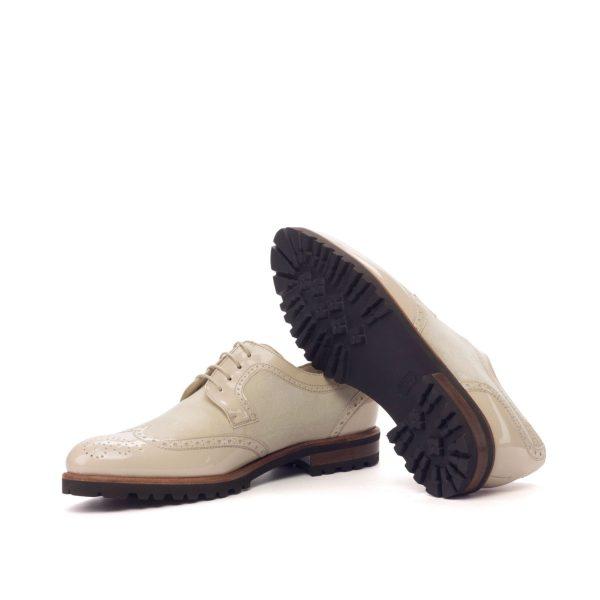 Derby Wingtip - Patent Beige-Kid Suede Ivory