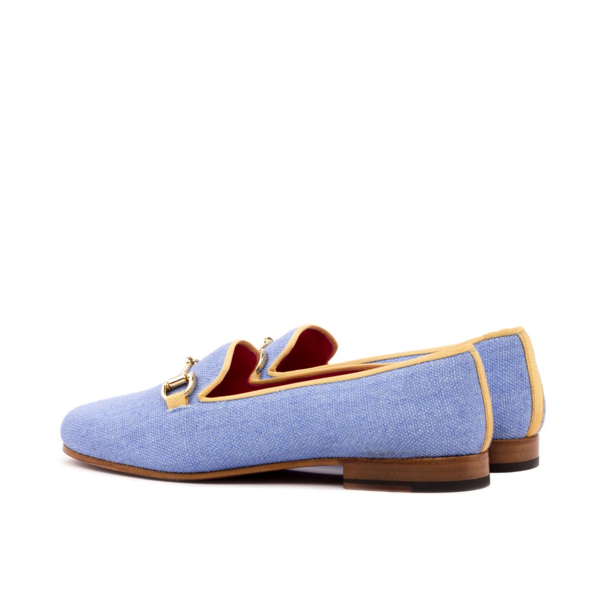 Blue linen women's Slippers