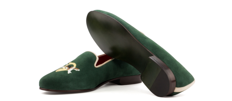 Green suede handmade slippers for women Cambrillon