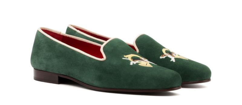 Slipper para mujer en ante verde y bordado Cambrillon