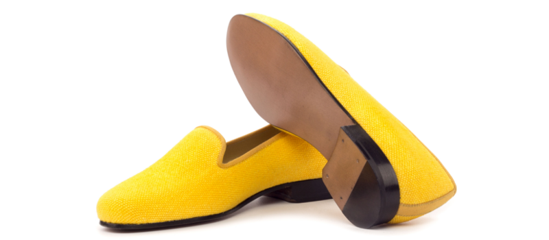 Yellow linen slippers for women Cambrillon