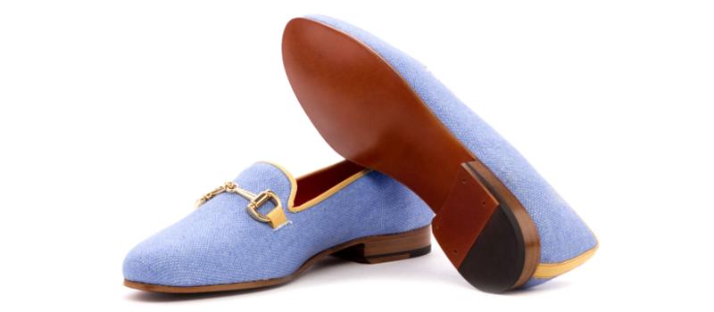 Bespoke blue linen slippers for women Cambrillon