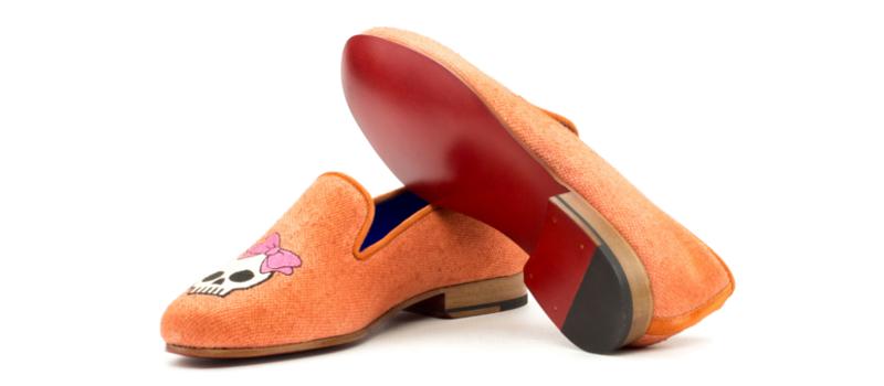 Orange linen slipper for women Cambrillon
