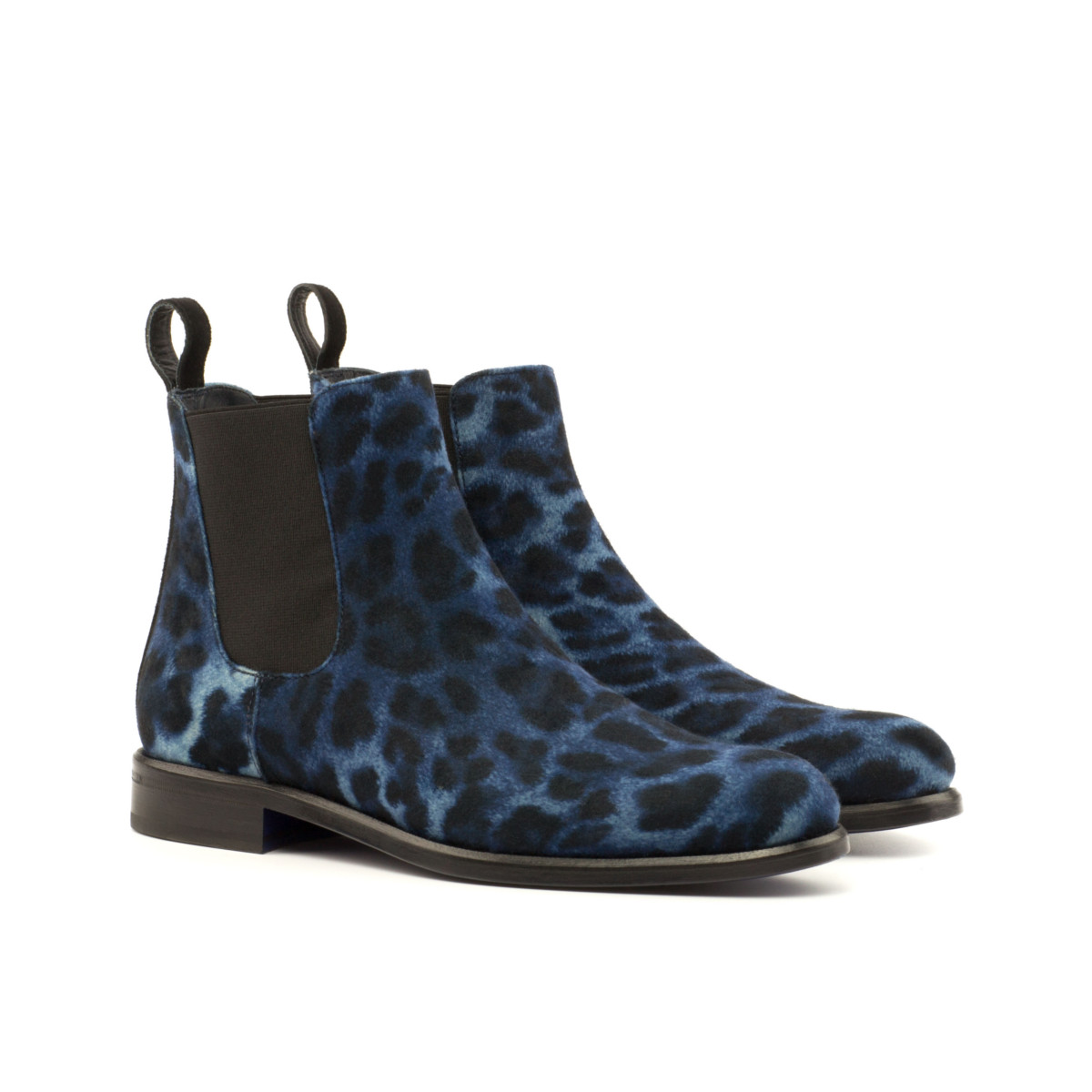 Women Chelsea Boot - Leopard Blue-Kid Suede Blak
