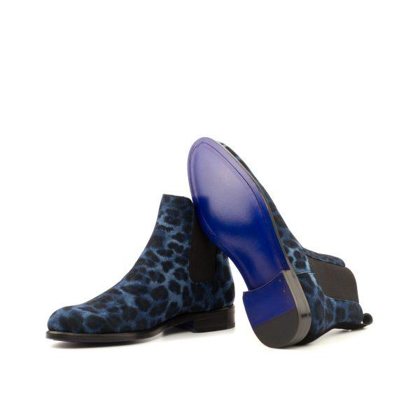 Women Chelsea Boot - Leopard Blue-Kid Suede Blak