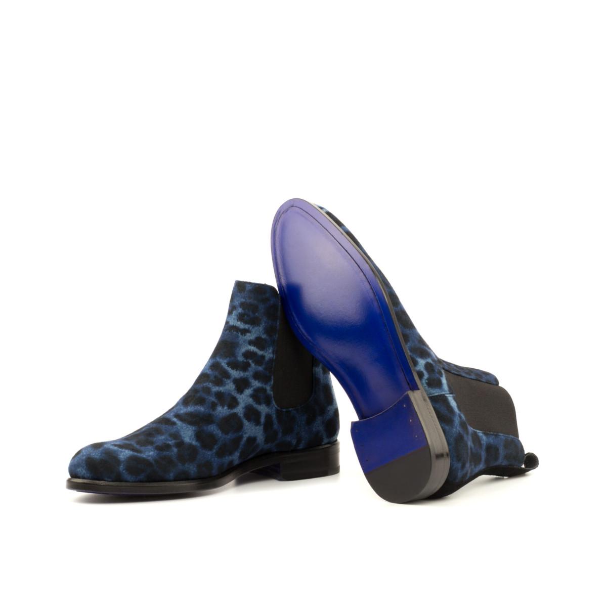 Women Chelsea Boot - Leopard Blue-Kid Suede Blak-Ang3