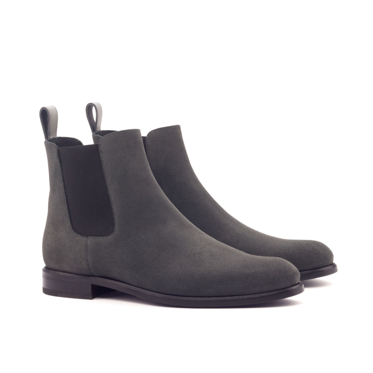 Women Chelsea Boot - Lux Suede Grey-Polished Calf Grey