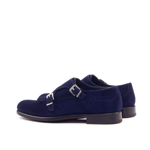 Women Kiltie Monk Strap - Kid Suede Navy
