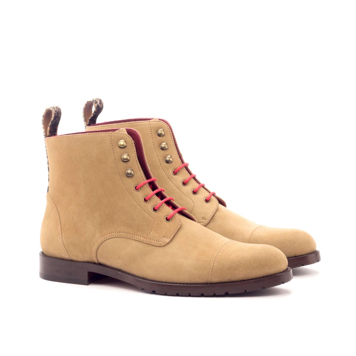 Women Lace Up Captoe Boot - Kid Suede Camel-Leopard Velvet