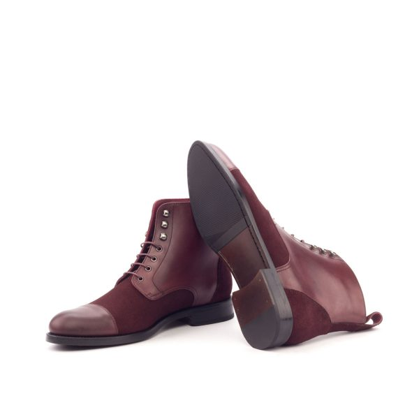 Women Lace Up Captoe Boot - Lux Suede Burgundy-Painted Calf Burgundy