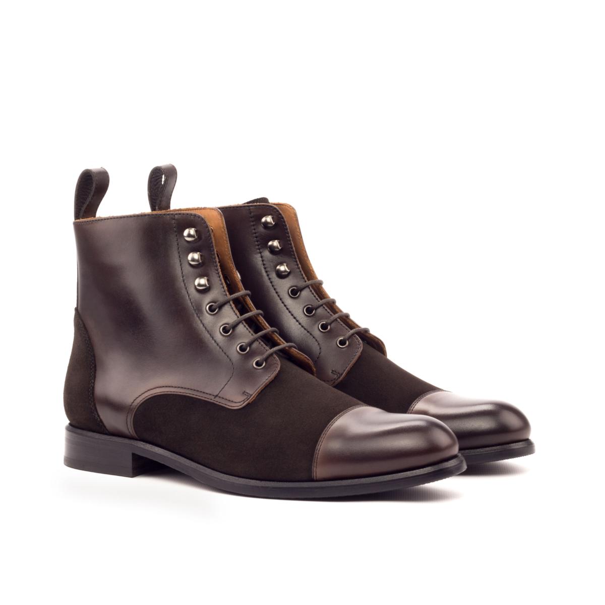 Women Lace Up Captoe Boot - Painted Calf Dark Brown-Lux Suede Dark Brown