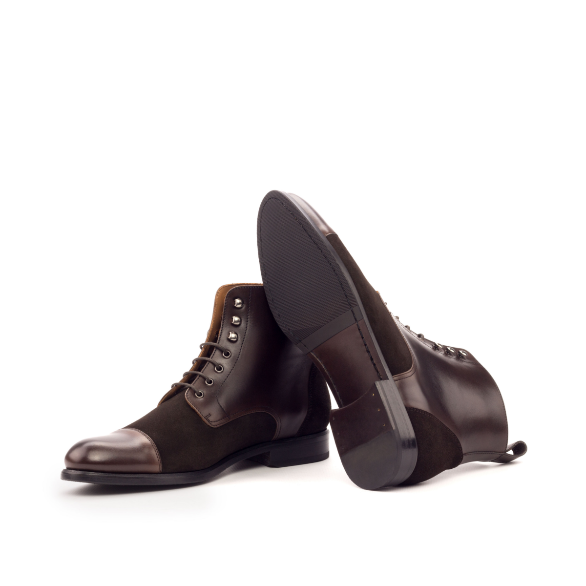 Women Lace Up Captoe Boot - Painted Calf Dark Brown-Lux Suede Dark Brown-