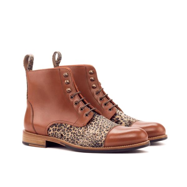 Women Lace Up Captoe Boot - Painted Calf Med Brown-Leopard Velvet