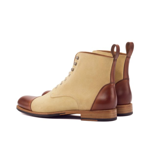 Women Lace Up Captoe Boot - Painted Calf Med Brown-Lux Suede Sand