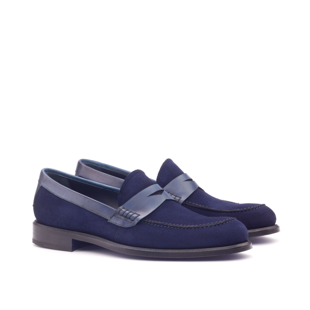 Blue suede women's loafers