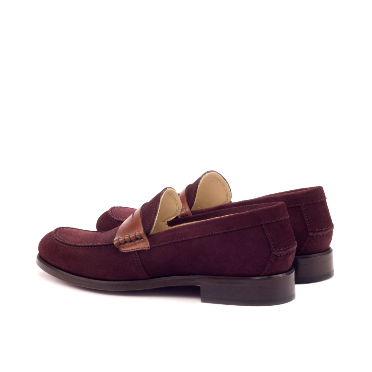 women's loafers in burgundy suede