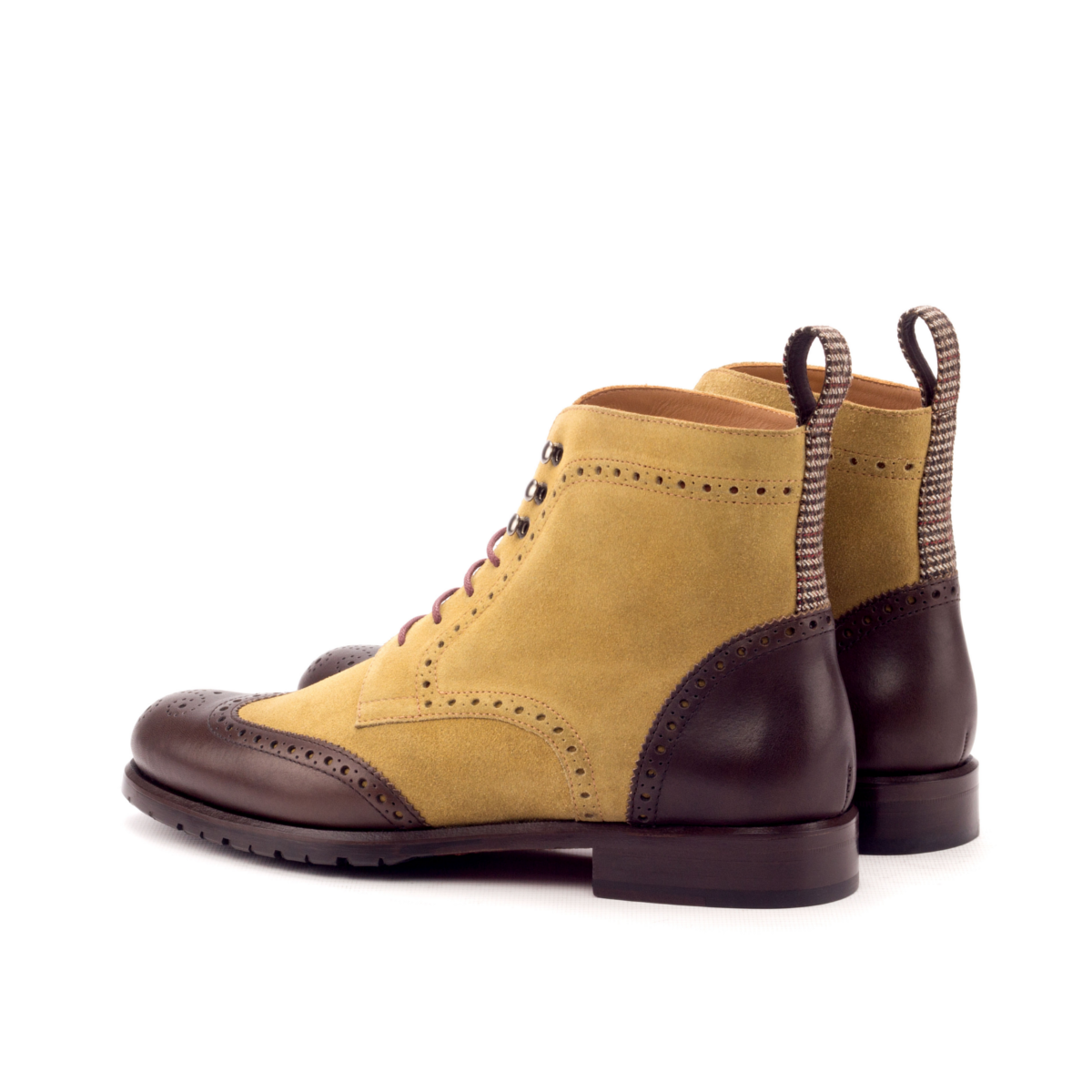 Box calf and suede women's Wingtip Boots
