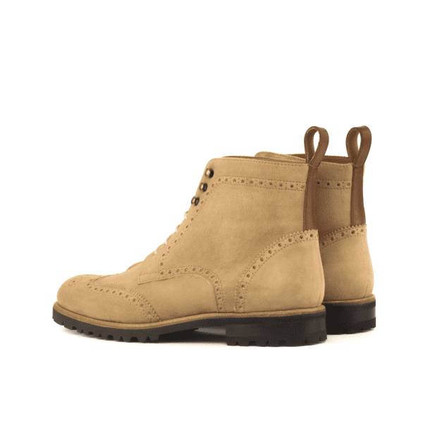 Women Military Boot - Kid Suede Camel-Painted Calf Med Brown