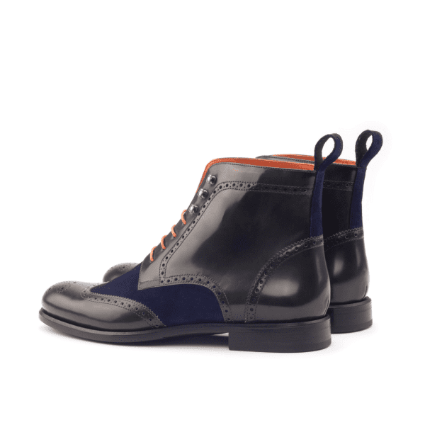 Women Military Boot - Polished Calf Green-Kid Suede Navy