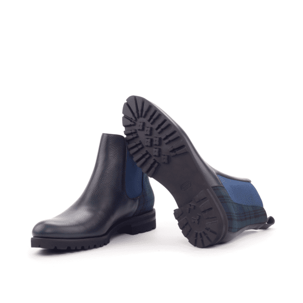 Women Chelsea Boot - Painted Pebble Grain Navy-Wool Blackwatch