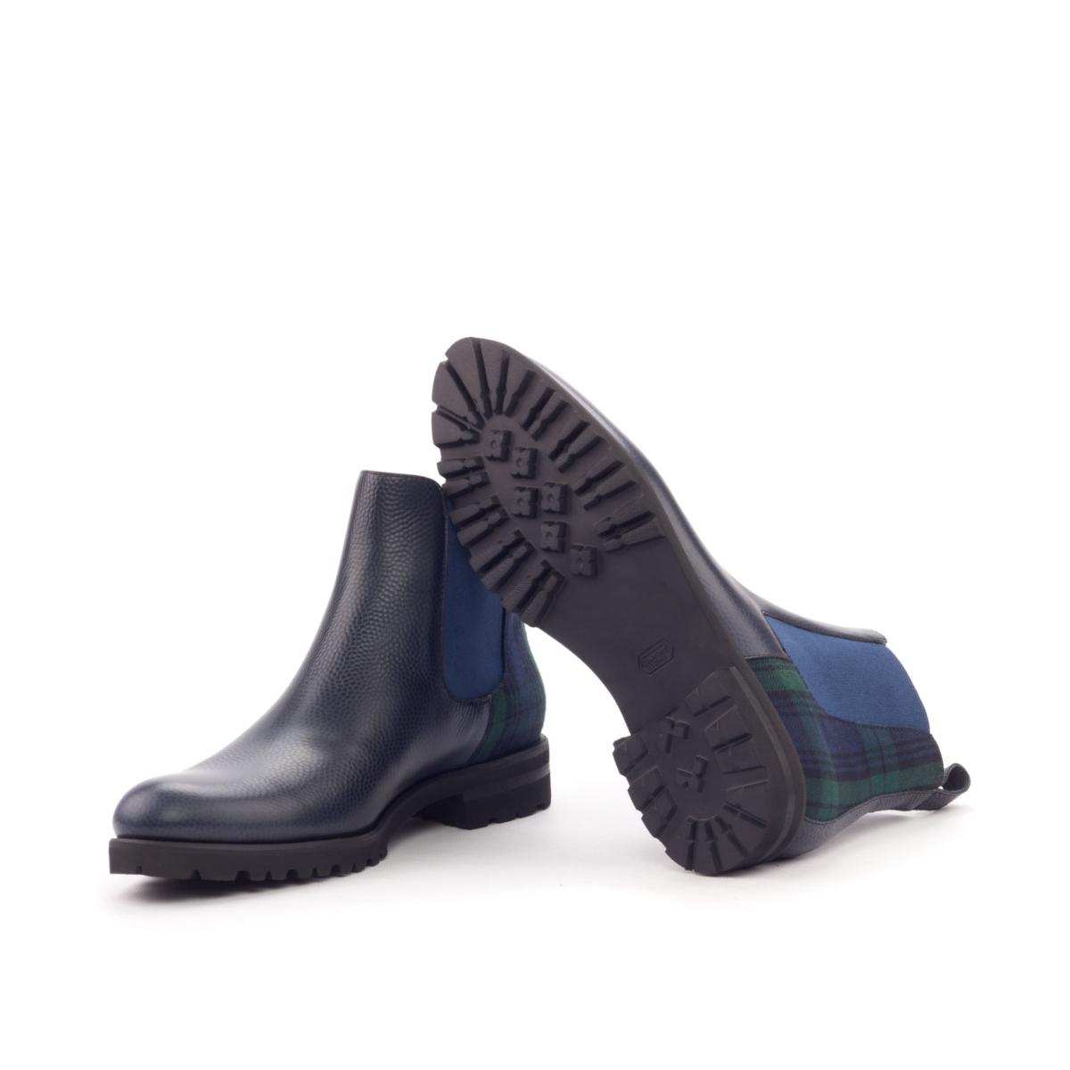 Women Chelsea Boot - Painted Pebble Grain Navy-Wool Blackwatch