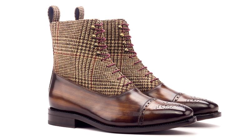 Balmoral Boot Goodyear Welt - Patina Heavy - Patina Brown-Wool Tweed Brown